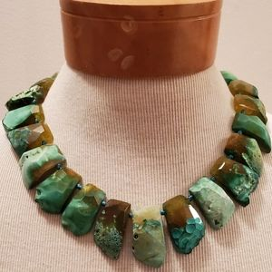 Statement green stone necklace